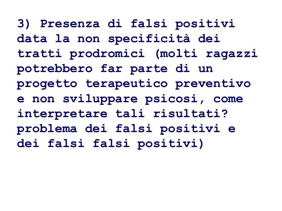 3) Presenza di falsi positivi data la non specificità dei tratti prodromici (molti ragazzi potrebbero far parte di un progetto terapeutico preventivo e non sviluppare psicosi, come interpretare tali risultati.