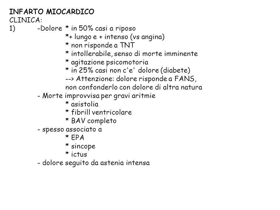 1) -Dolore * in 50% casi a riposo *+ lungo e + intenso (vs angina)