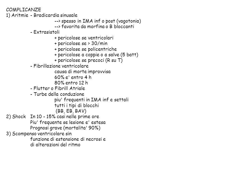 COMPLICANZE 1) Aritmie - Bradicardia sinusale. --> spesso in IMA inf o post (vagotonia) --> favorita da morfina o B bloccanti.