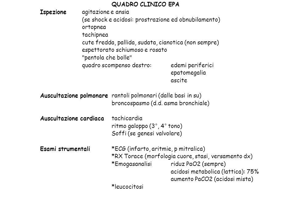 QUADRO CLINICO EPA Ispezione agitazione e ansia. (se shock e acidosi: prostrazione ed obnubilamento)
