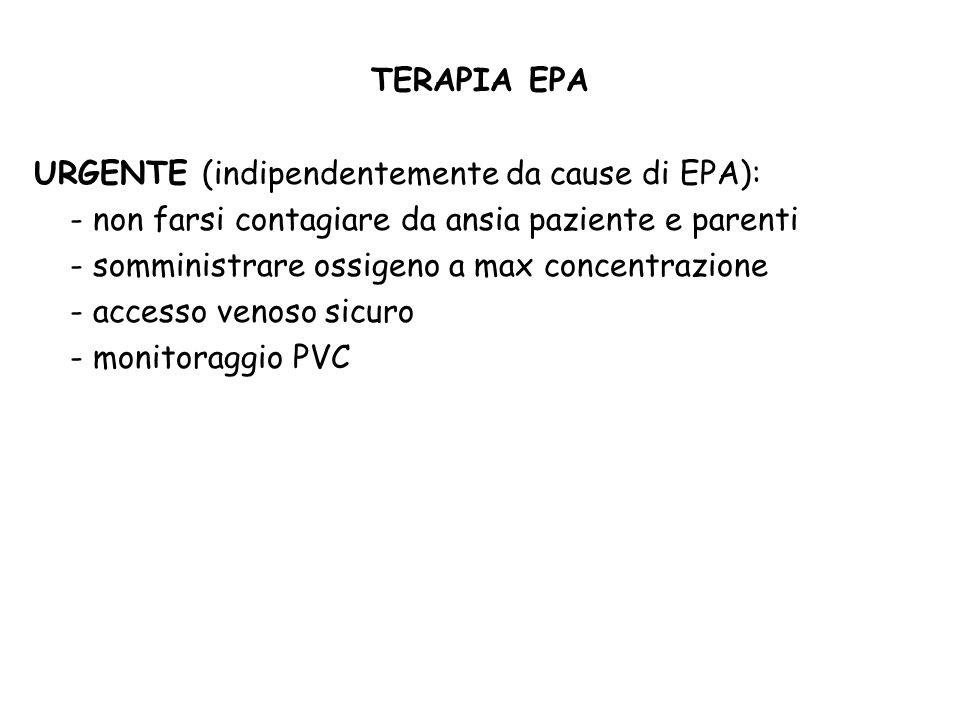 TERAPIA EPA URGENTE (indipendentemente da cause di EPA): - non farsi contagiare da ansia paziente e parenti.