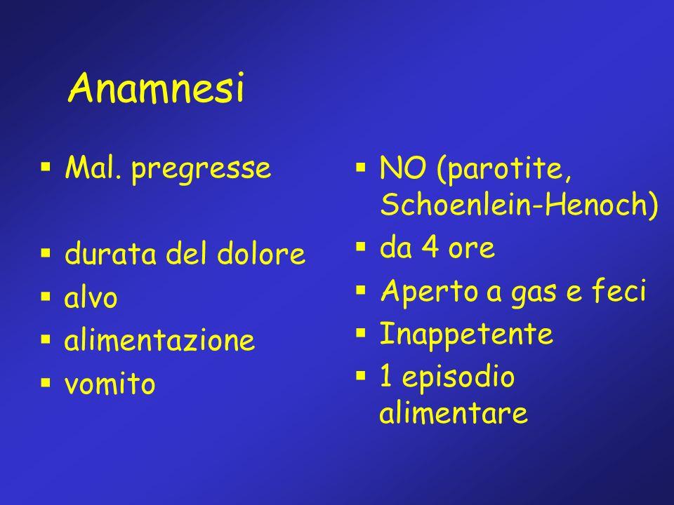 Anamnesi Mal. pregresse NO (parotite, Schoenlein-Henoch) da 4 ore
