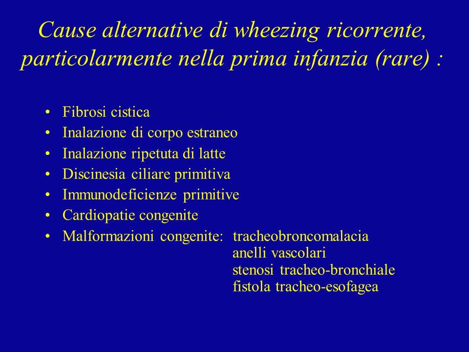 Cause alternative di wheezing ricorrente, particolarmente nella prima infanzia (rare) :