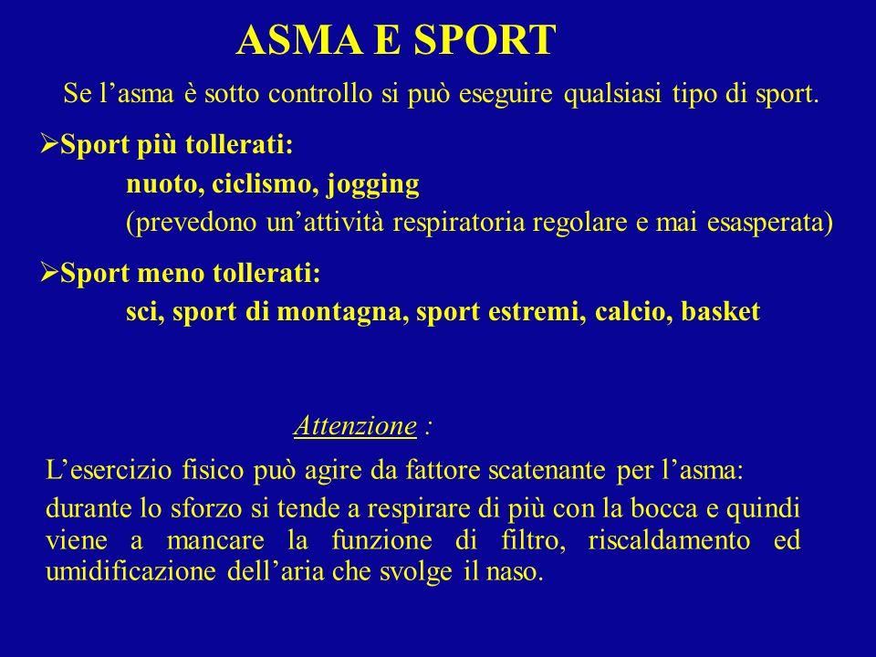 Se l'asma è sotto controllo si può eseguire qualsiasi tipo di sport.