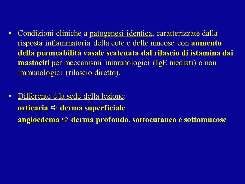 Condizioni cliniche a patogenesi identica, caratterizzate dalla risposta infiammatoria della cute e delle mucose con aumento della permeabilità vasale scatenata dal rilascio di istamina dai mastociti per meccanismi immunologici (IgE mediati) o non immunologici (rilascio diretto).