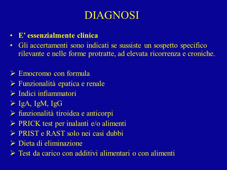 DIAGNOSI E' essenzialmente clinica