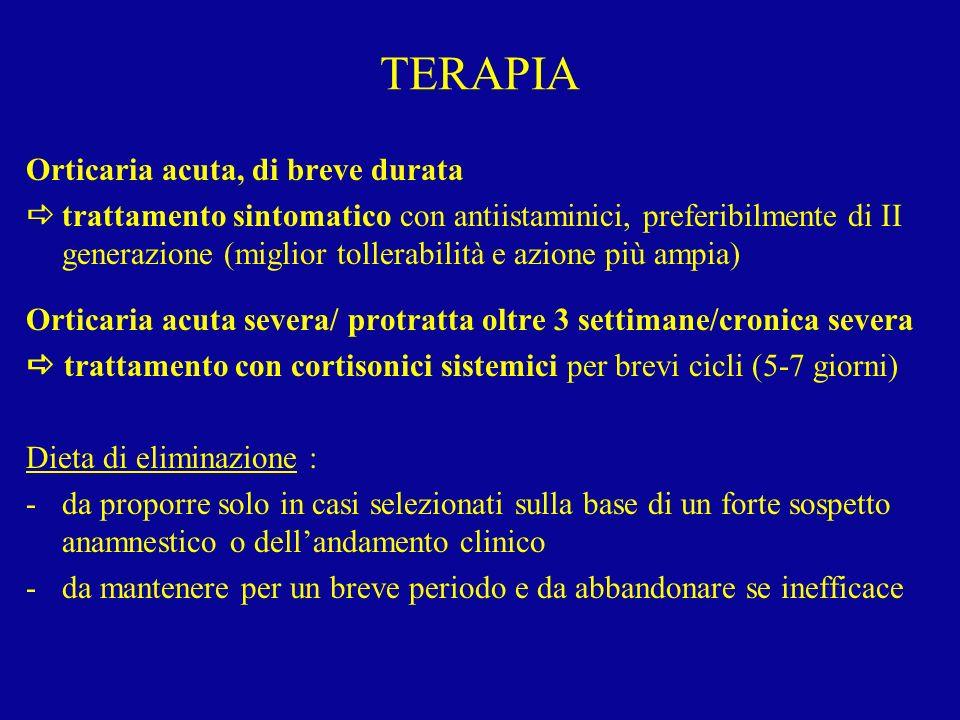 TERAPIA Orticaria acuta, di breve durata