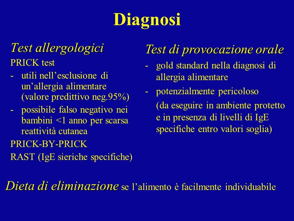 Diagnosi Test allergologici Test di provocazione orale