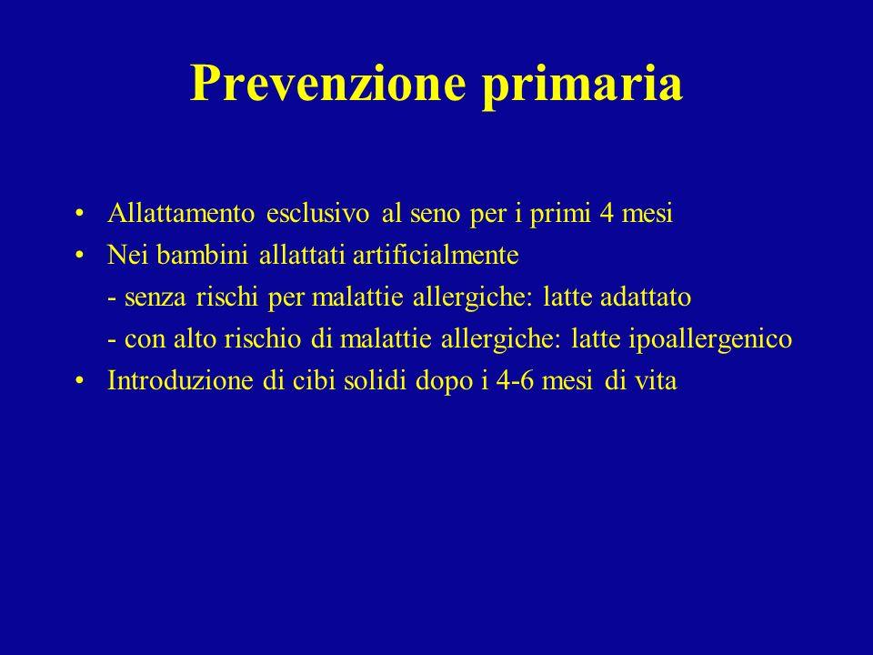 Prevenzione primaria Allattamento esclusivo al seno per i primi 4 mesi