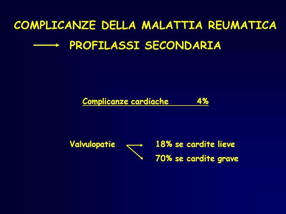 COMPLICANZE DELLA MALATTIA REUMATICA PROFILASSI SECONDARIA