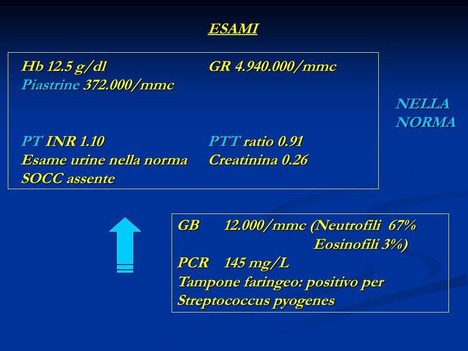 ESAMI Hb 12.5 g/dl GR 4.940.000/mmc. Piastrine 372.000/mmc NELLA NORMA.