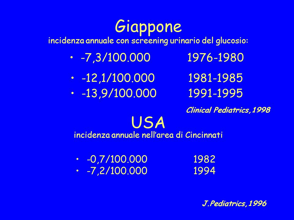 Giappone incidenza annuale con screening urinario del glucosio: