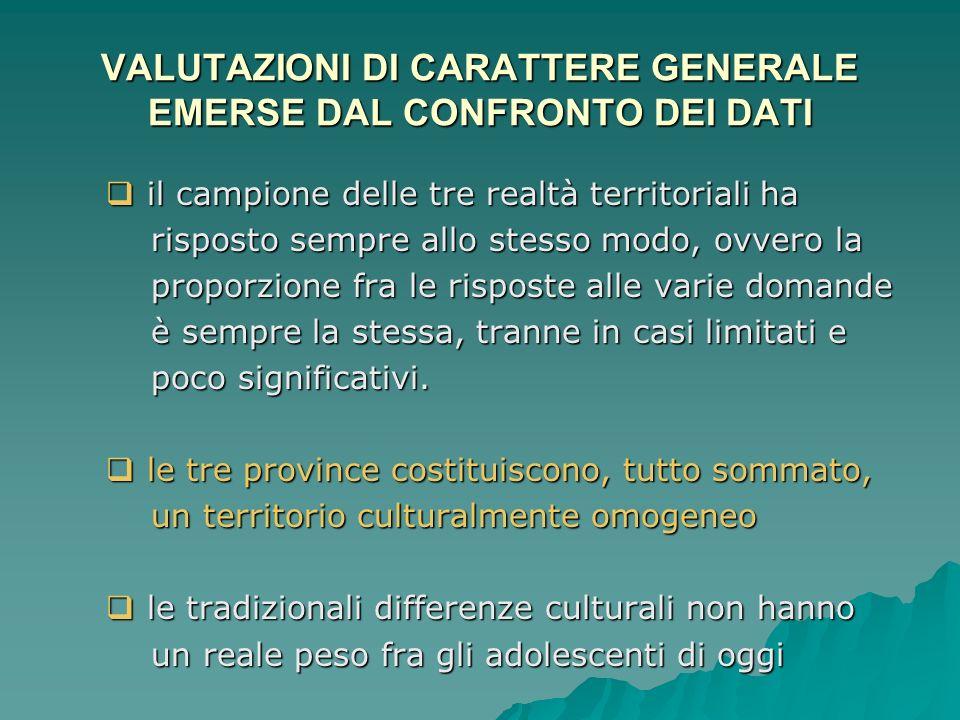 VALUTAZIONI DI CARATTERE GENERALE EMERSE DAL CONFRONTO DEI DATI
