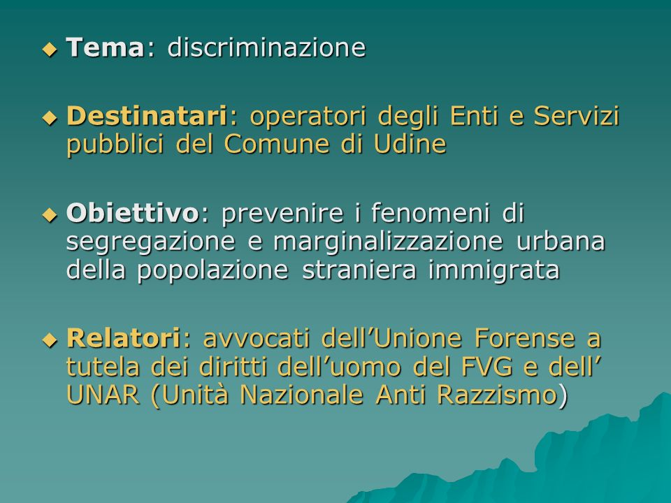 Tema: discriminazione