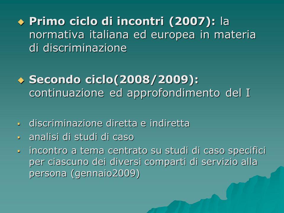Secondo ciclo(2008/2009): continuazione ed approfondimento del I