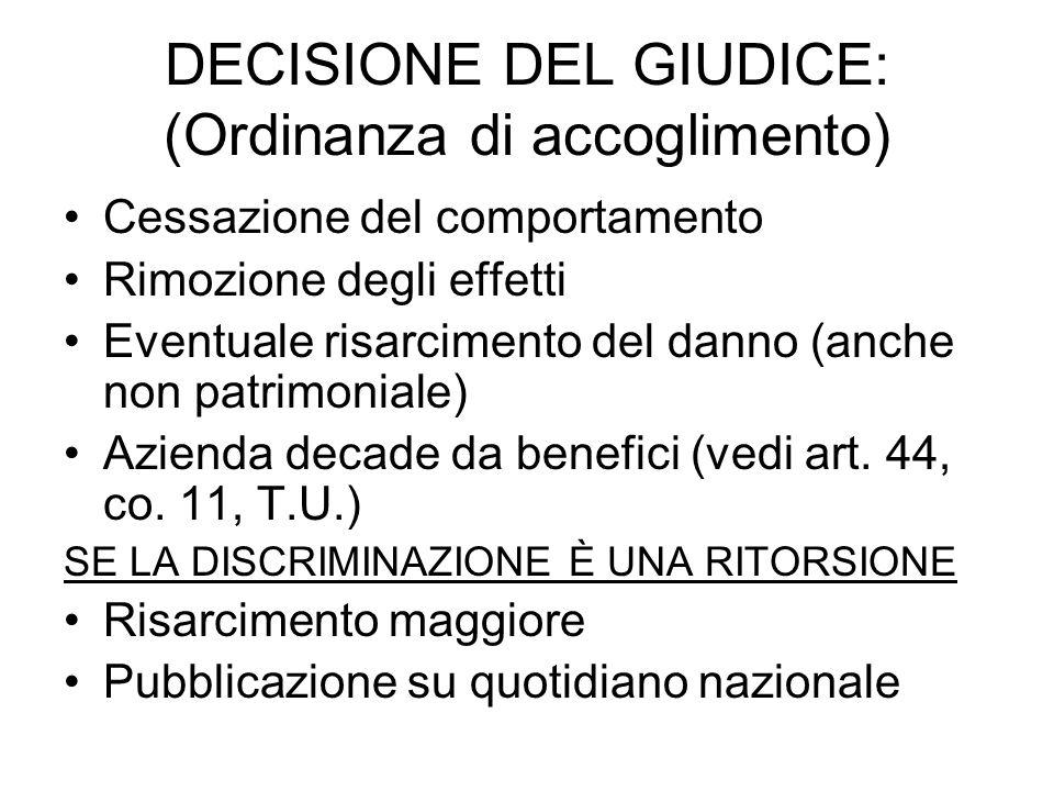 DECISIONE DEL GIUDICE: (Ordinanza di accoglimento)