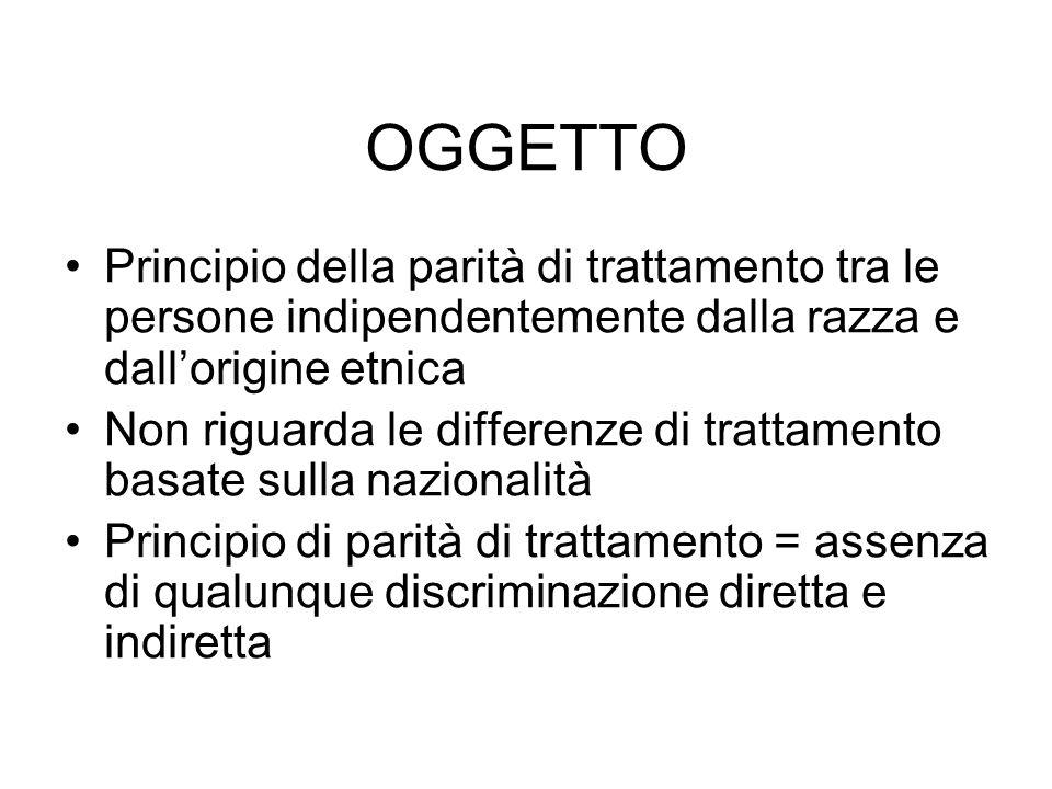 OGGETTO Principio della parità di trattamento tra le persone indipendentemente dalla razza e dall'origine etnica.