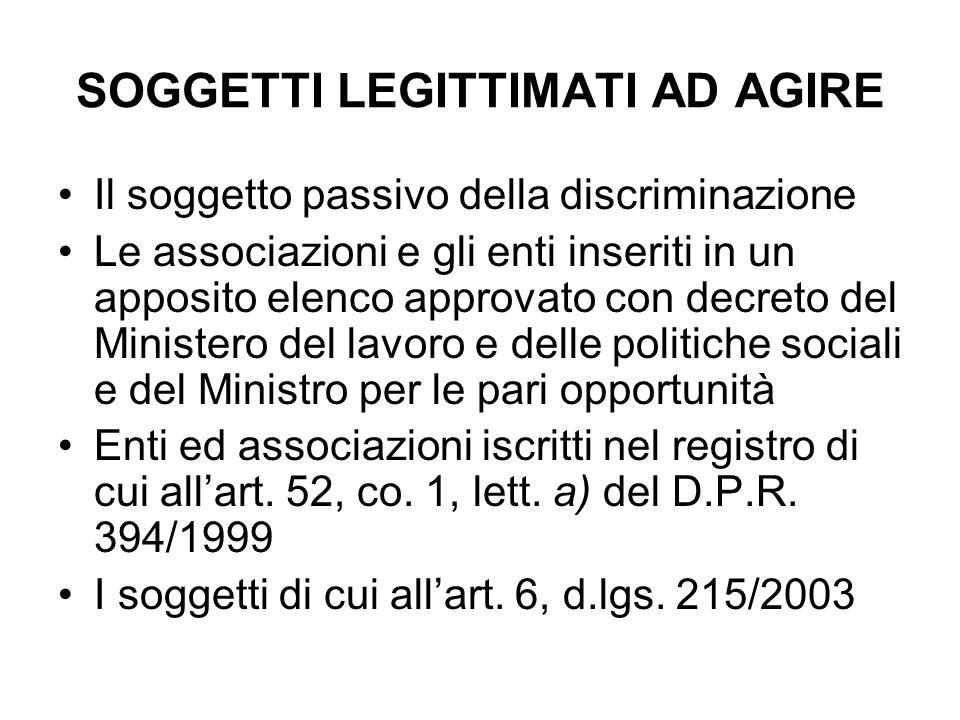 SOGGETTI LEGITTIMATI AD AGIRE