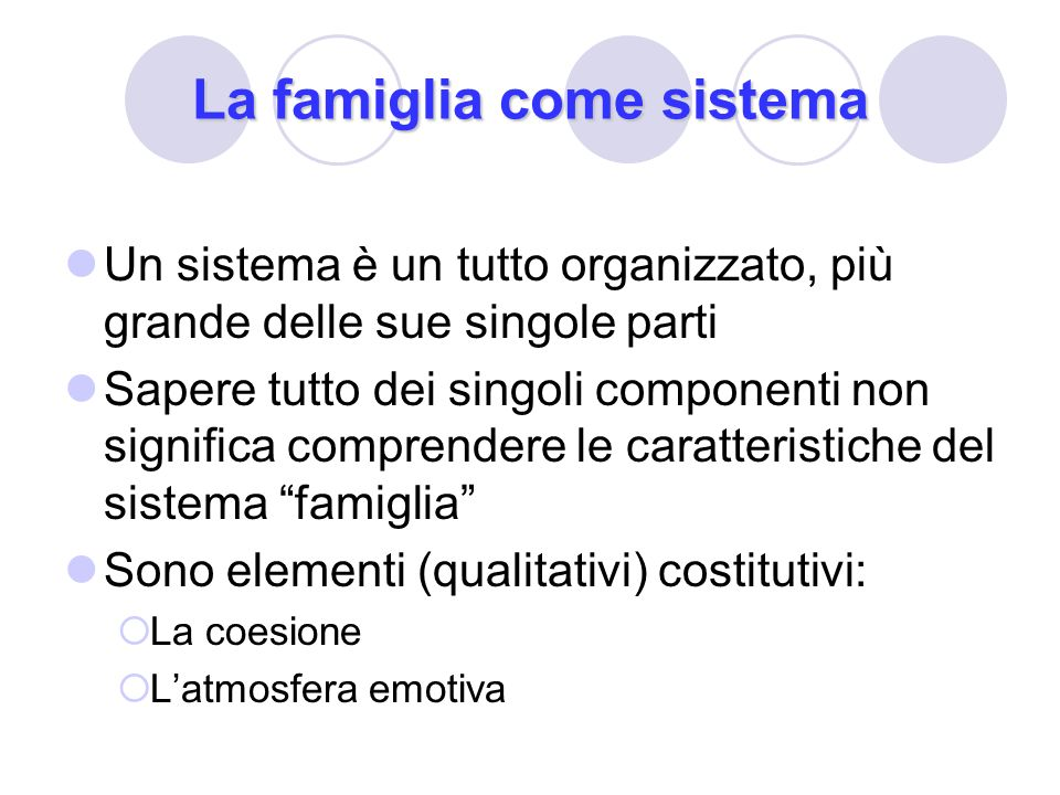 La famiglia come sistema