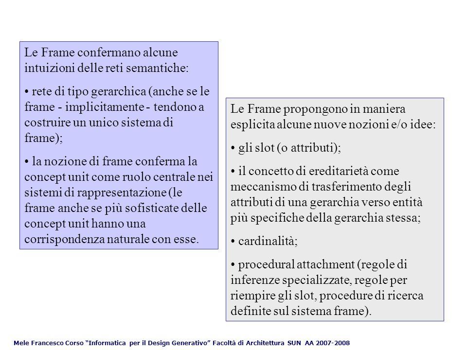 Le Frame confermano alcune intuizioni delle reti semantiche: