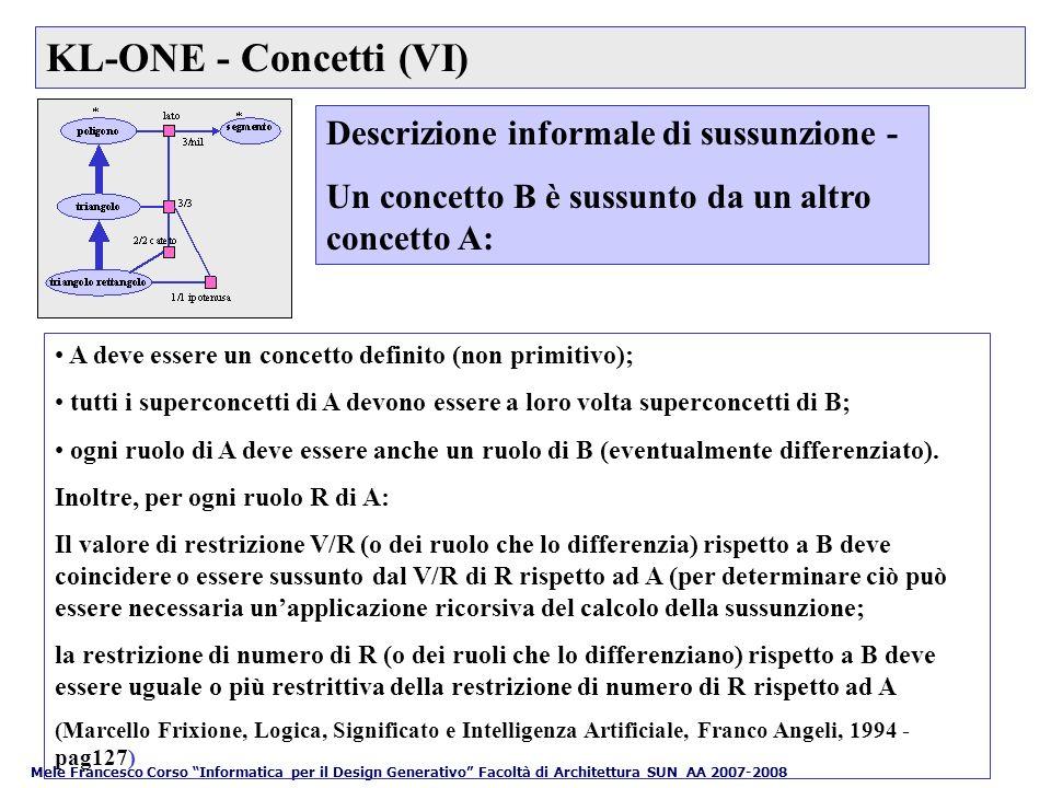 KL-ONE - Concetti (VI) Descrizione informale di sussunzione -