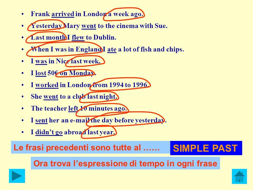 SIMPLE PAST Le frasi precedenti sono tutte al ……