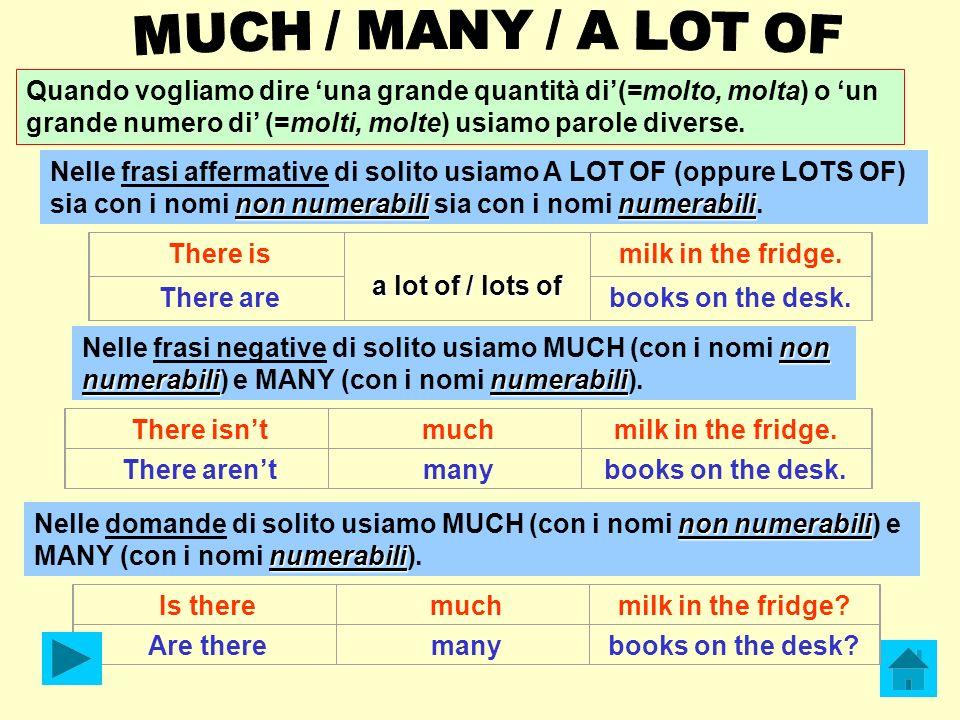 MUCH / MANY / A LOT OF Quando vogliamo dire 'una grande quantità di'(=molto, molta) o 'un grande numero di' (=molti, molte) usiamo parole diverse.