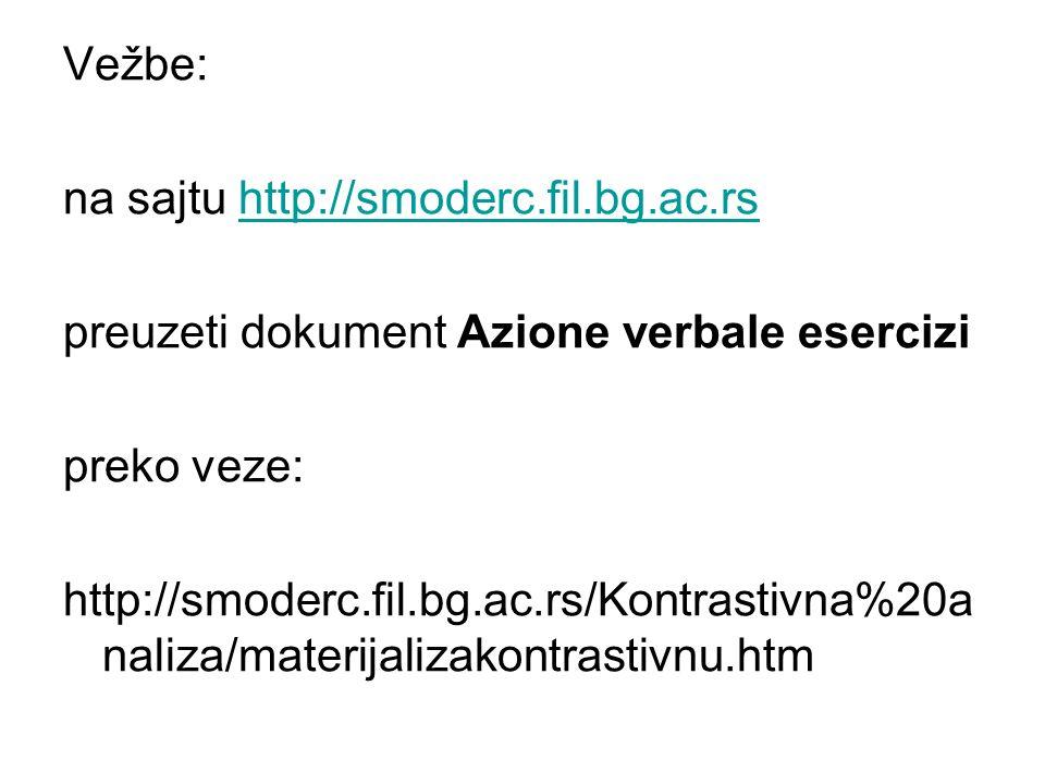 Vežbe: na sajtu http://smoderc.fil.bg.ac.rs. preuzeti dokument Azione verbale esercizi. preko veze: