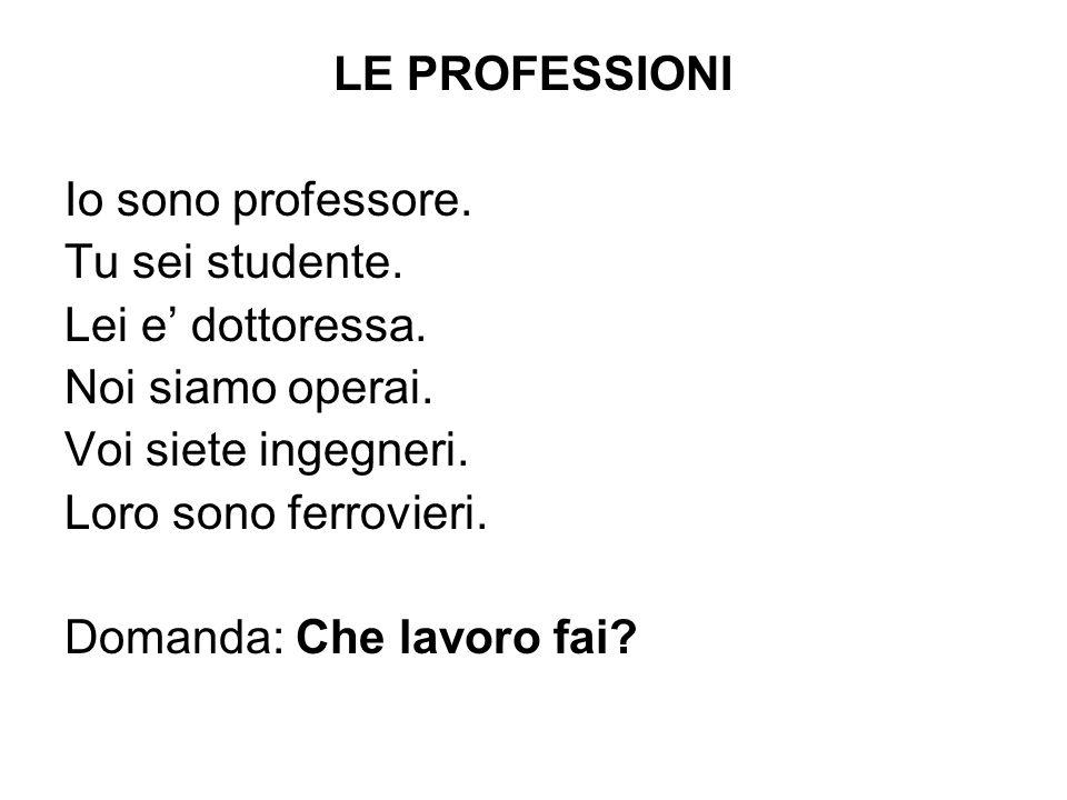 LE PROFESSIONI Io sono professore. Tu sei studente. Lei e' dottoressa. Noi siamo operai. Voi siete ingegneri.