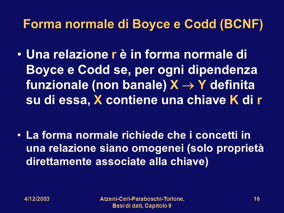 Forma normale di Boyce e Codd (BCNF)