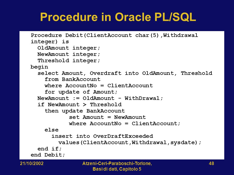 Procedure in Oracle PL/SQL