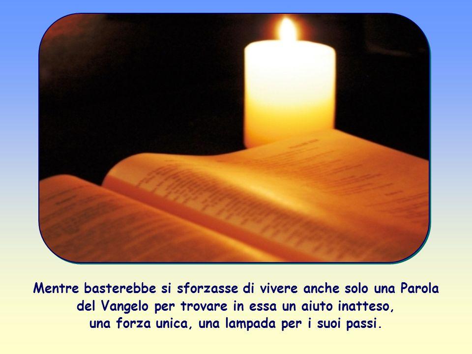 Mentre basterebbe si sforzasse di vivere anche solo una Parola del Vangelo per trovare in essa un aiuto inatteso, una forza unica, una lampada per i suoi passi.