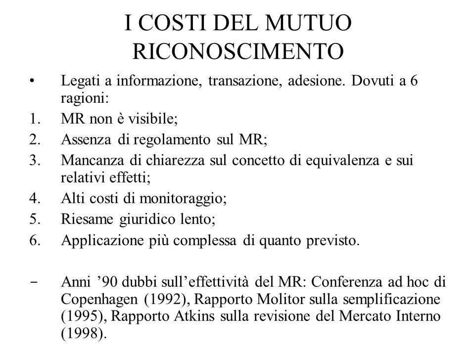 I COSTI DEL MUTUO RICONOSCIMENTO