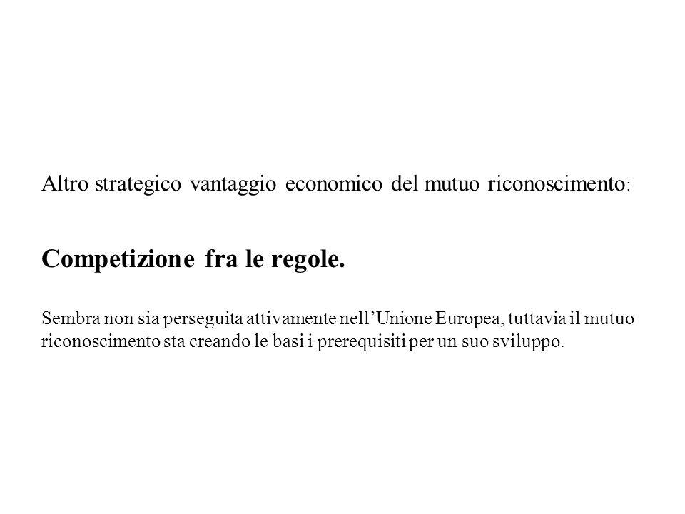 Altro strategico vantaggio economico del mutuo riconoscimento: Competizione fra le regole.