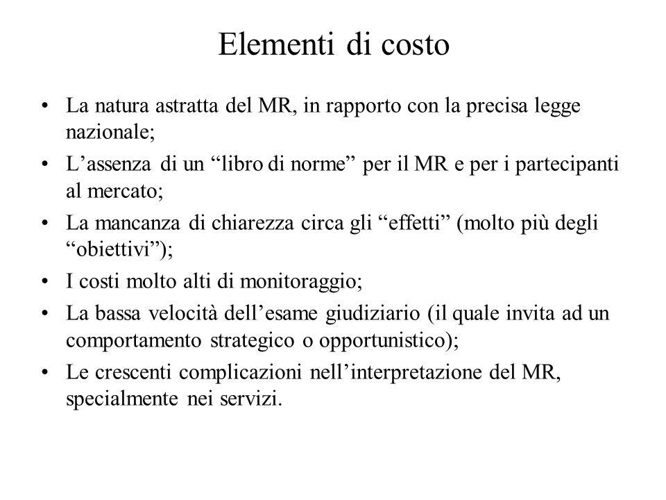 Elementi di costo La natura astratta del MR, in rapporto con la precisa legge nazionale;
