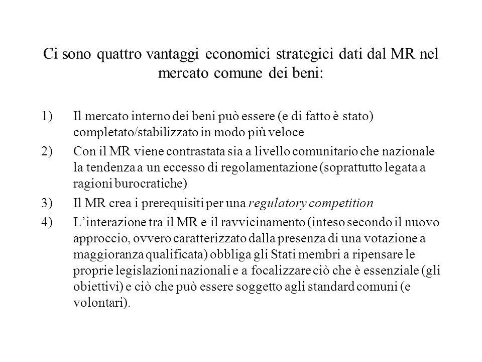 Ci sono quattro vantaggi economici strategici dati dal MR nel mercato comune dei beni: