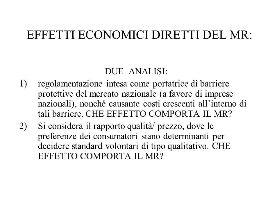 EFFETTI ECONOMICI DIRETTI DEL MR: