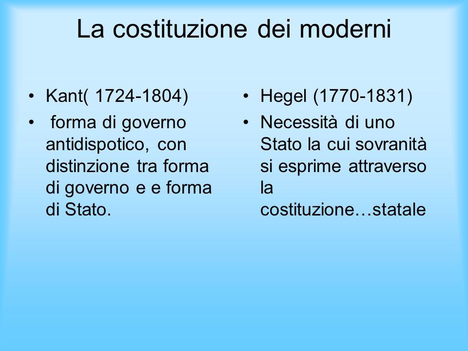 La costituzione dei moderni