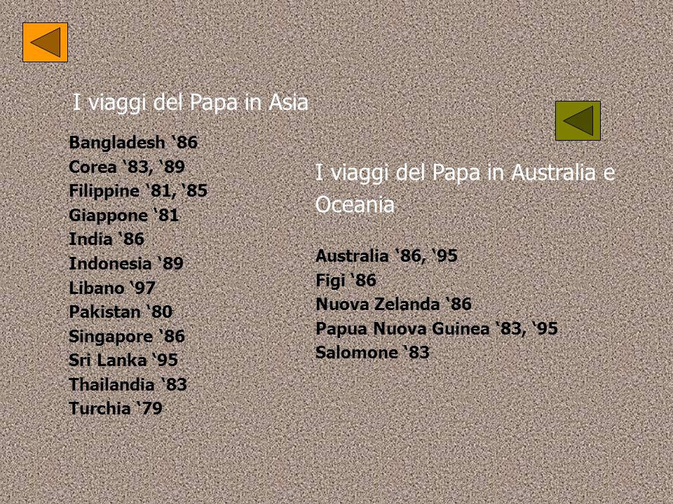 I viaggi del Papa in Asia