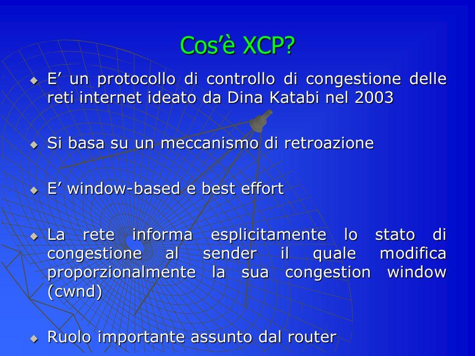 Cos'è XCP E' un protocollo di controllo di congestione delle reti internet ideato da Dina Katabi nel 2003.