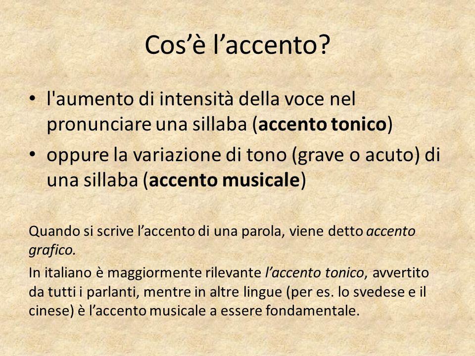 Cos'è l'accento l aumento di intensità della voce nel pronunciare una sillaba (accento tonico)
