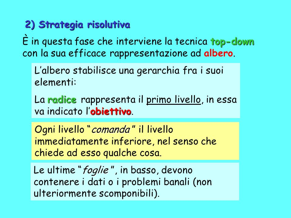 2) Strategia risolutiva