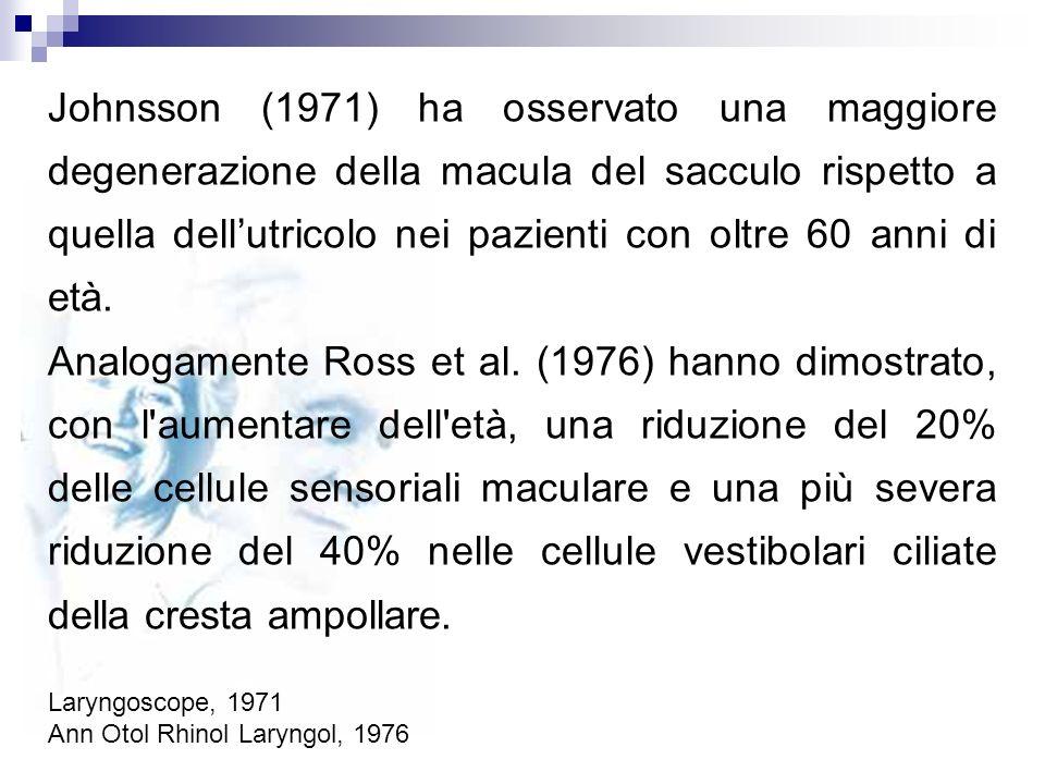Johnsson (1971) ha osservato una maggiore degenerazione della macula del sacculo rispetto a quella dell'utricolo nei pazienti con oltre 60 anni di età.