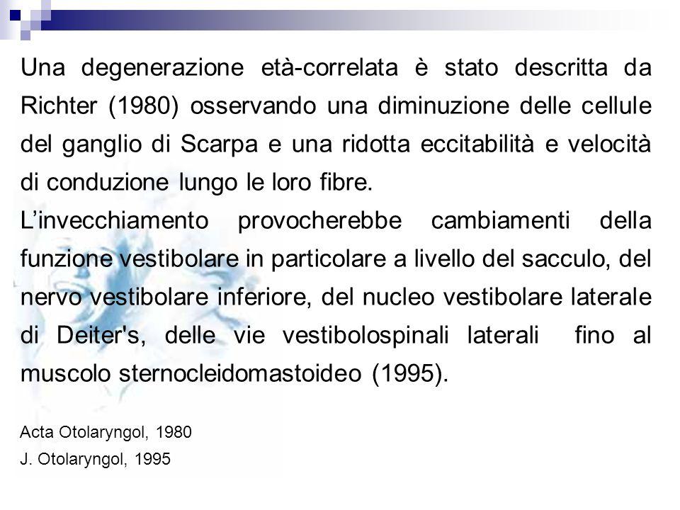 Una degenerazione età-correlata è stato descritta da Richter (1980) osservando una diminuzione delle cellule del ganglio di Scarpa e una ridotta eccitabilità e velocità di conduzione lungo le loro fibre.