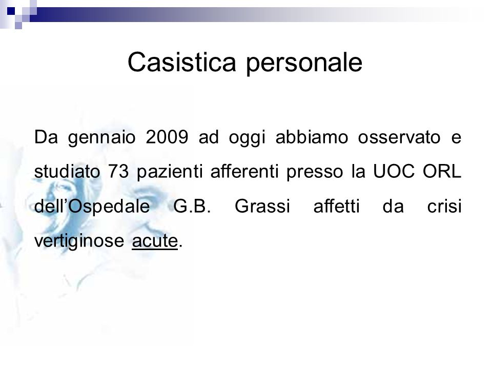 Casistica personale