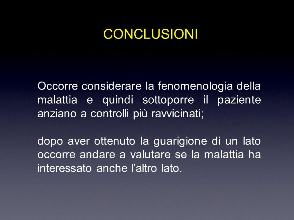 CONCLUSIONI Occorre considerare la fenomenologia della malattia e quindi sottoporre il paziente anziano a controlli più ravvicinati;
