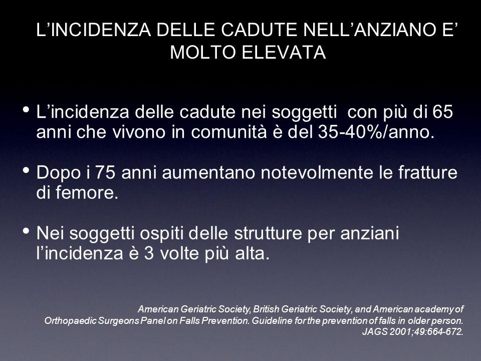 L'INCIDENZA DELLE CADUTE NELL'ANZIANO E' MOLTO ELEVATA