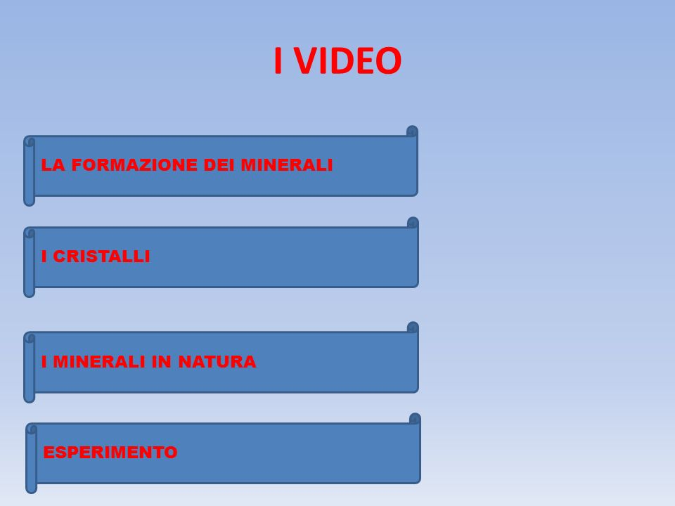 I VIDEO LA FORMAZIONE DEI MINERALI I CRISTALLI I MINERALI IN NATURA