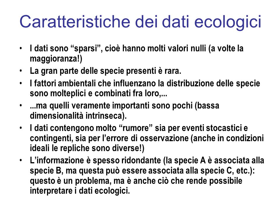 Caratteristiche dei dati ecologici