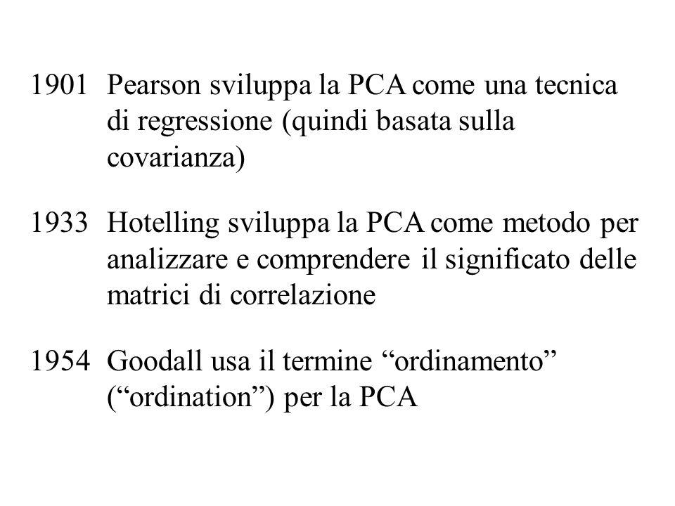Pearson sviluppa la PCA come una tecnica di regressione (quindi basata sulla covarianza)